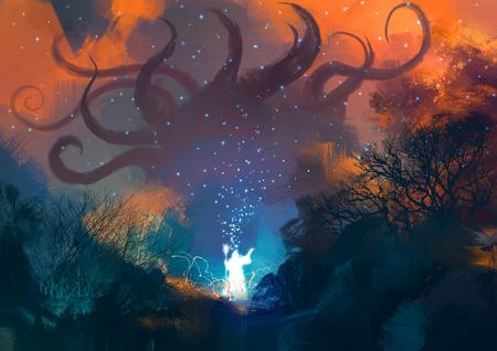 魔法師召喚幽靈般的惡魔,巫師施魔法用魔杖 版權商用圖片