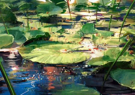 belle peinture montrant feuilles de lotus dans un étang