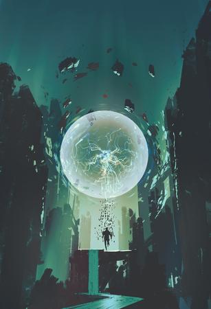 bola de raio e geometria em forma de humano com fundo do edifício, pintura ilustração