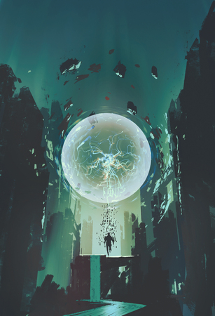 lightning ball and geometry in the form of human with building background,illustration painting Фото со стока - 48196476