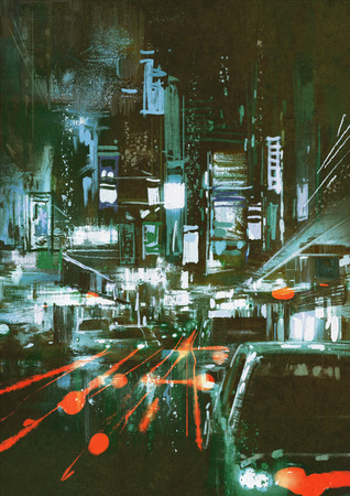 nighttime: painting of car taillights on a city street at night