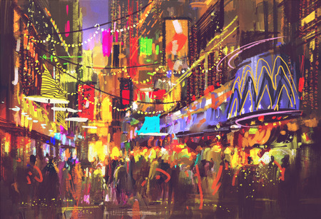 people in city street with illumination and nightlife,digital painting