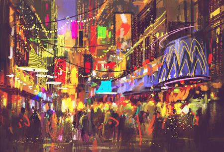 persone in strada cittadina con illuminazione e la vita notturna, pittura digitale