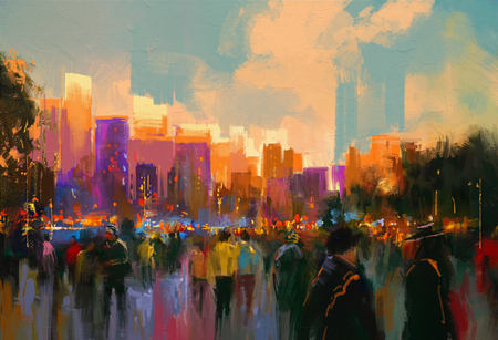art painting: beautiful painting of people in a city park at sunset Stock Photo