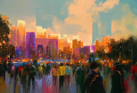 mooi schilderij van de mensen in een stadspark bij zonsondergang Stockfoto
