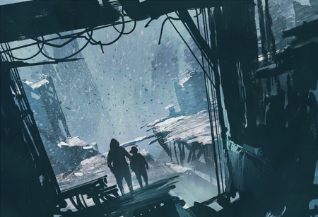man and boy standing looking out at ruined city with snow storm,illustration painting Banque d'images