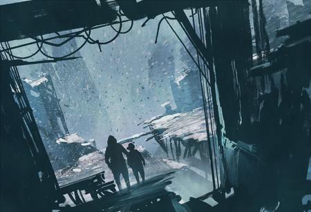 uomo e ragazzo in piedi a guardare città in rovina con la tempesta di neve, illustrazione pittura