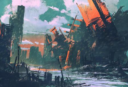 cidade de desastres, cenário apocalíptico, pintura ilustração