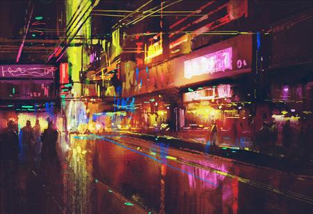 stadsstraat met verlichting en 's nachts leven, digitaal schilderen