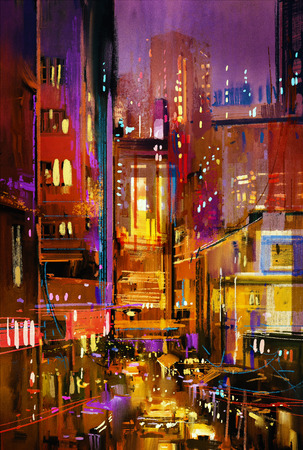 city at night: painting of city night scene with colorful lights Stock Photo