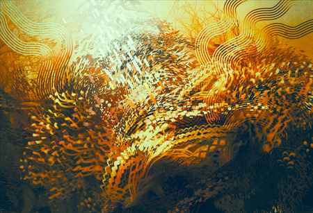aquatic: digital painting of abstract orange elements,fantasy aquatic concept