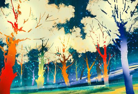 fantasie bos met kleurrijke bomen, landschap het digitale schilderen