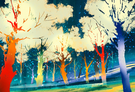 fantasy forest with colorful trees,landscape digital painting Stock Photo
