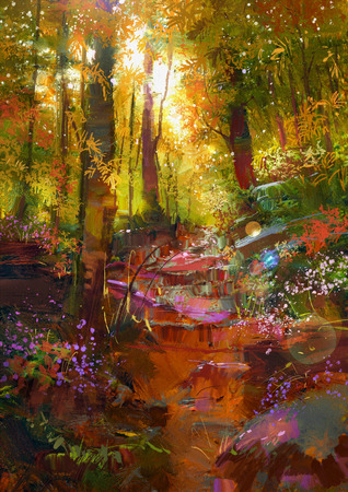 beautiful landscape: landscape painting of beautiful autumn forest with sunlight Stock Photo