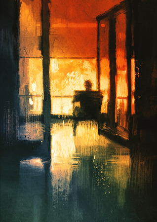 balcony view: back view of a man sitting on chair looking the view outside,digital painting