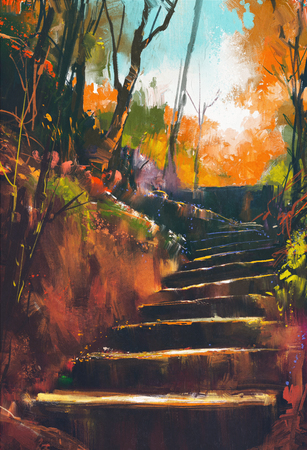 autumn path: stone stair path in autumn forest,illustration painting Stock Photo