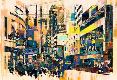 Arte abstracto del paisaje urbano, pintura ilustración Foto de archivo - 48646553