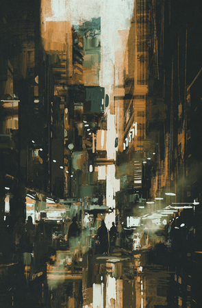 city at night: narrow alley,illustration painting