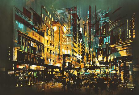 cena da noite da arquitectura da cidade, pintura da arte abstracta Banco de Imagens
