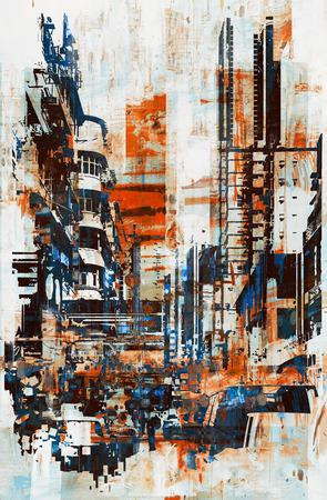 абстрактный гранж городской пейзаж, иллюстрации картины