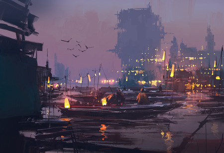 boats in harbor of futuristic city,evening scene,illustration painting Archivio Fotografico