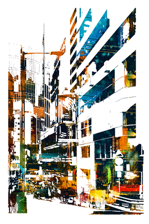 modern urban city,illustration painting