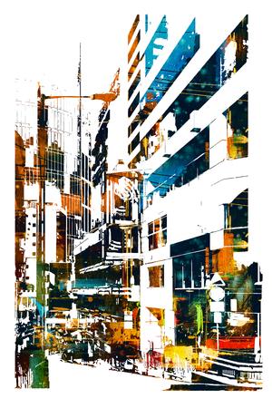 moderna città urbana, illustrazione pittura Archivio Fotografico