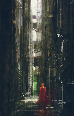 riding: Red Riding Hood in futuristic alley,science fiction scene,illustration