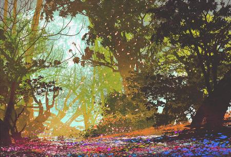 カラフルな森の絵画の図と美しい風景