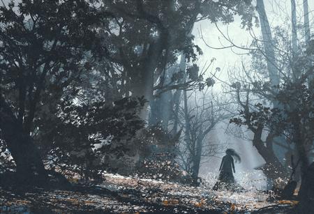 Mulher na floresta misteriosa escuro, ilustração pintura