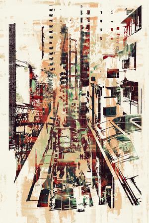 Arte astratta di paesaggio urbano, illustrazione pittura Archivio Fotografico - 48984493