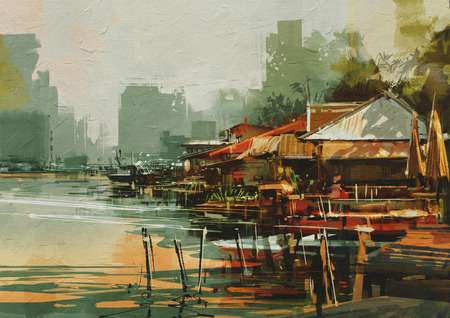 fishing village: seascape painting showing old fishing village,watercolor style