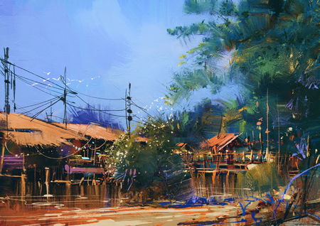 old fishing village,oil painting style