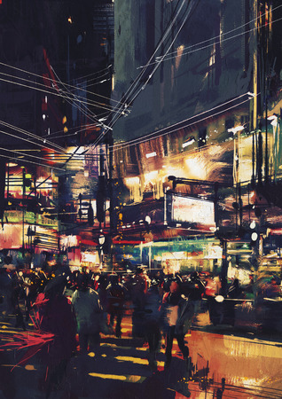 crowds of people: crowds of people at a busy crossing in the night with colorful lights,digital painting