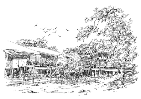 pencil drawing: landscape sketch of fishing village in summer