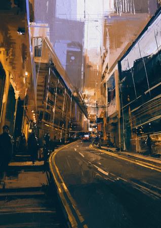 저녁 현대 도시의 도시에서 거리의 그림 스톡 콘텐츠