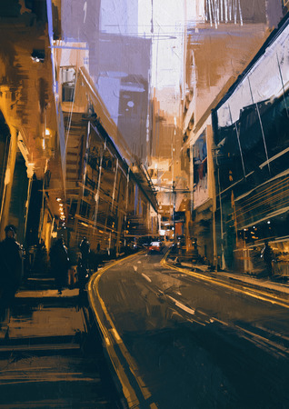 painting of street in modern urban city at evening Stock Photo