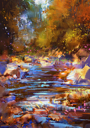 colorful: beautiful fall river lines with colorful stones in autumn forest,digital painting