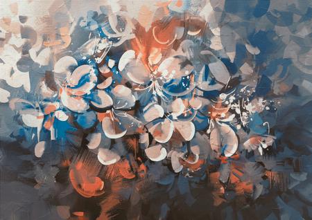 abstracte bloemen schilderen met vintage stijl kleur Stockfoto