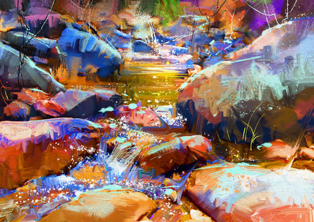 cascade mountains: beautiful waterfall with colorful stones in autumn forest,digital painting