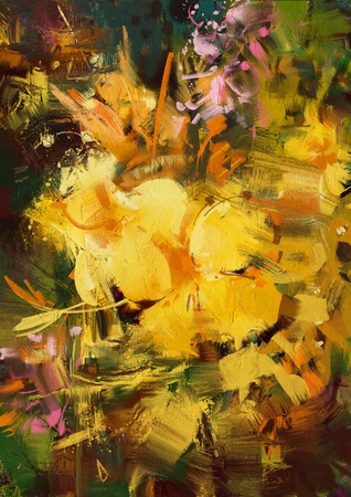 vibrant: abstract painting of vibrant yellow flowers Stock Photo
