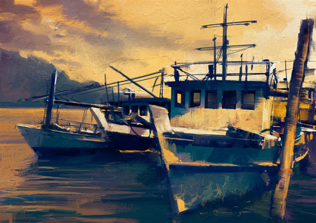 harbor: fishing boats in harbor,old painting style