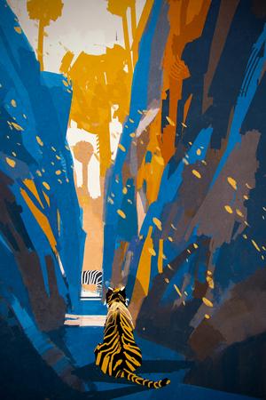 stalking: tiger stalking in narrow rock wall,illustration digital painting
