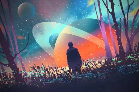 fantasy fiction: man standing alone in forest with fictional planets background,illustration Stock Photo