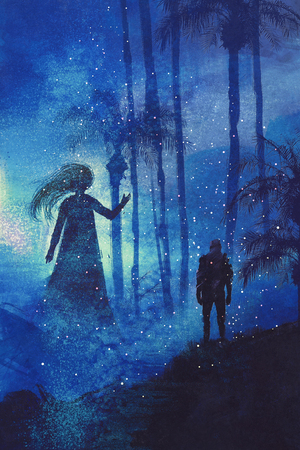 encounter between man and ghost in mysterious dark forest,illustration painting Stock Photo