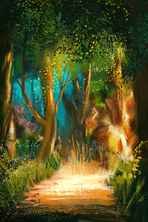 forest landscape: beautiful forest path in morning,illustration painting Stock Photo