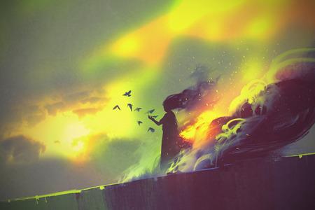 brandende vrouw, illustratie schilderij