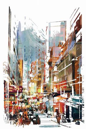 도시 풍경, 그림의 추상 미술 스톡 콘텐츠