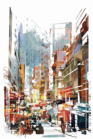 abstract art of cityscape,illustration Reklamní fotografie - 49565623