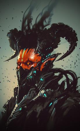 red devil: futuristic character,robotic demon,illustration painting Stock Photo